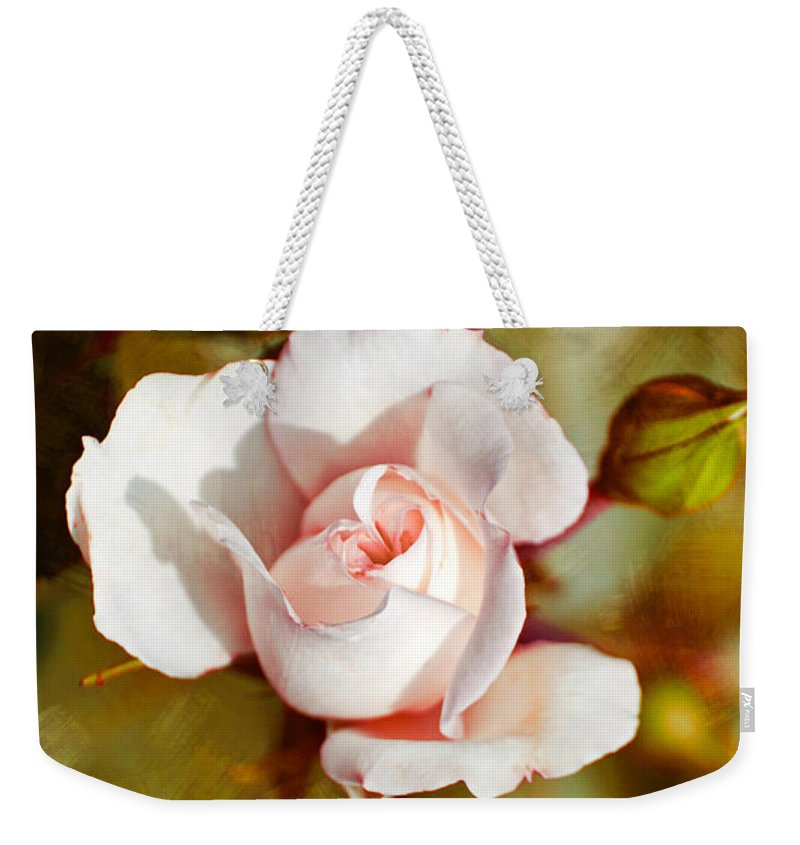 Vintage Weekender Tote Bag featuring the photograph Vintage Rose by Christina Rollo