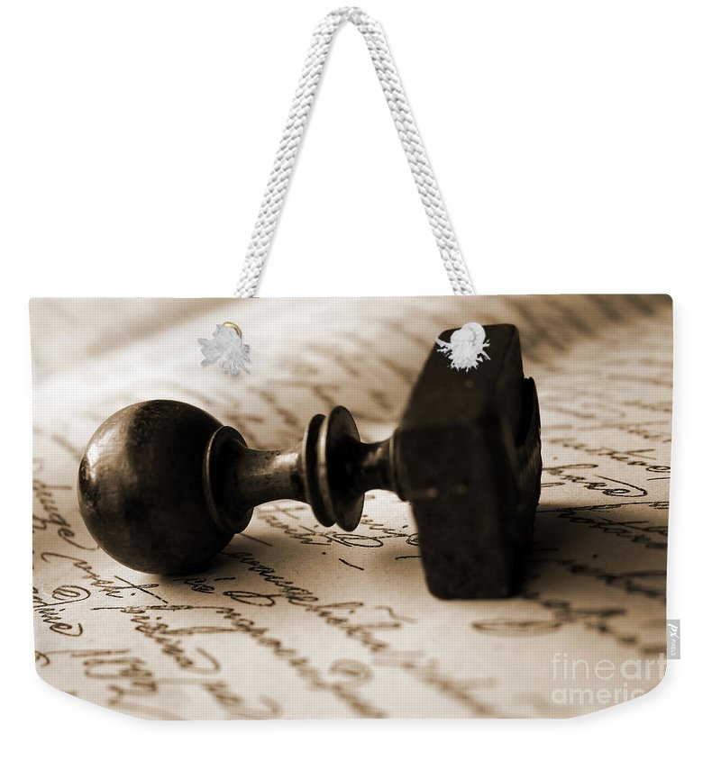 Brand Weekender Tote Bag featuring the photograph Vintage Seal by Dan Radi