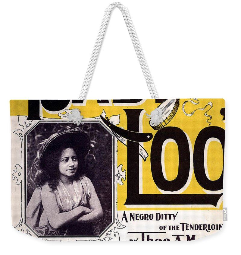 Vintage Sheet Music Cover Weekender Tote Bag featuring the digital art Vintage Sheet Music Cover Circa 1898 by Theo A Metz