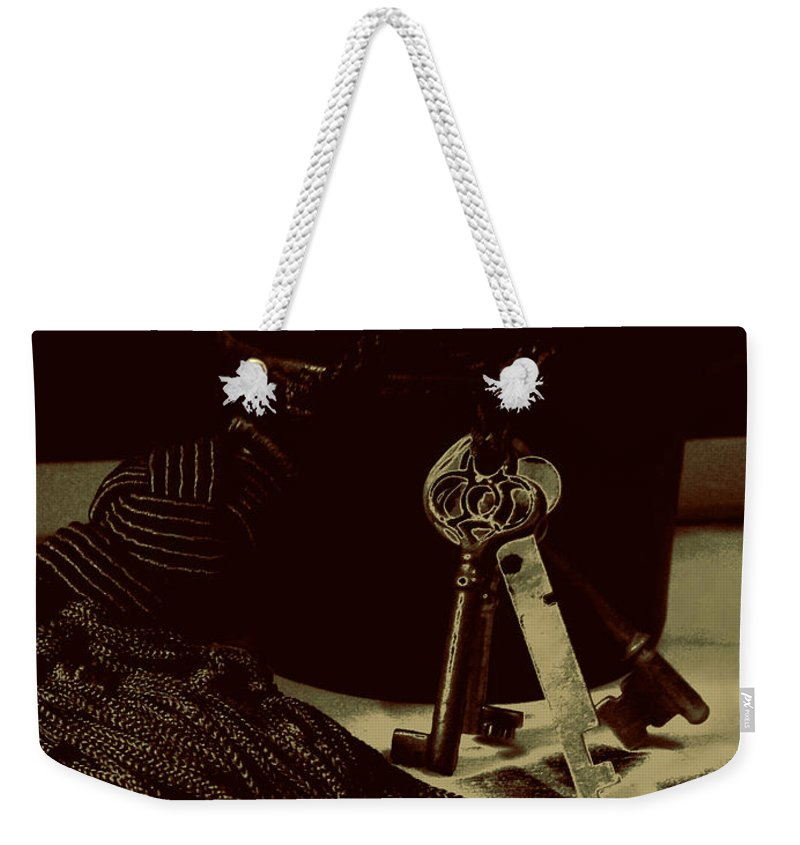 Keys Weekender Tote Bag featuring the photograph Vintage Skeleton Keys _tassle Nbr 3 by Lesa Fine