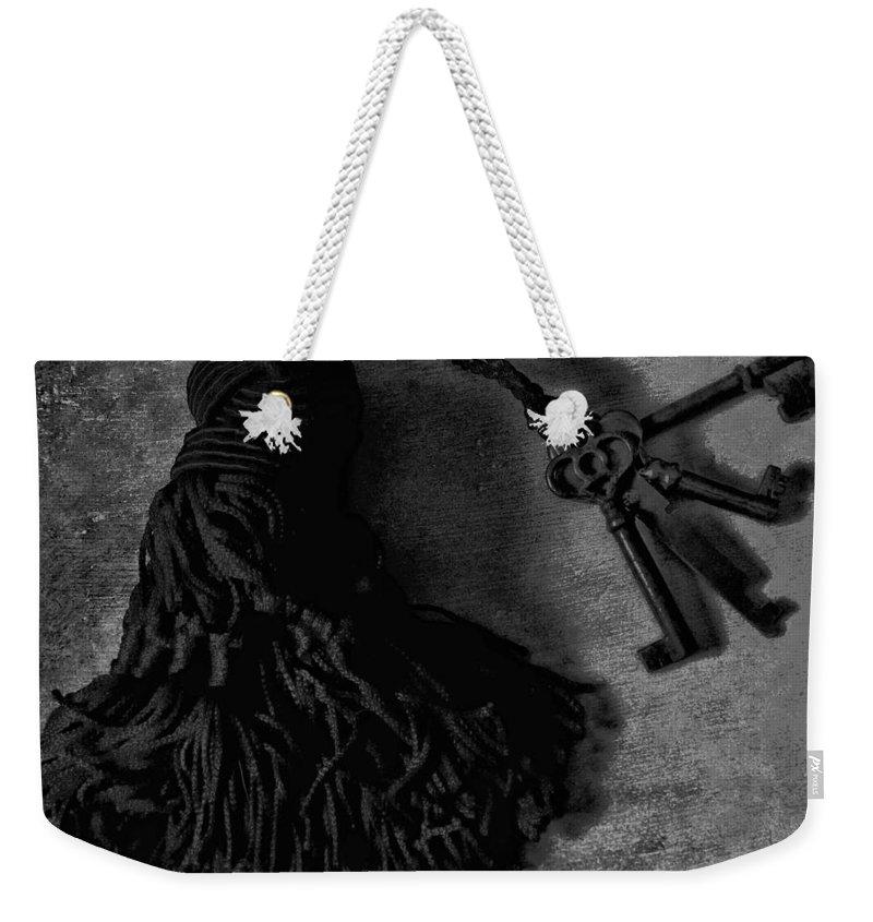 Keys Weekender Tote Bag featuring the photograph Vintage Skeleton Keys_tassled Bw by Lesa Fine