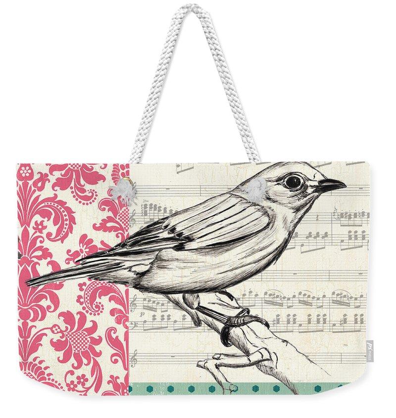 Bird Weekender Tote Bag featuring the painting Vintage Songbird 1 by Debbie DeWitt