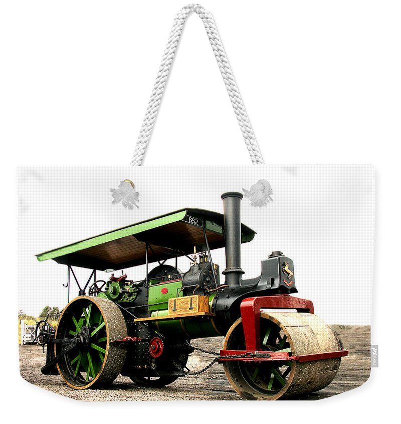 Steam Weekender Tote Bag featuring the photograph Vintage Steam Roller by Tom Conway