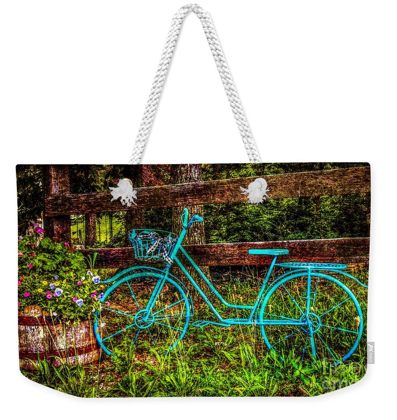 Vintage Blue Bike Weekender Tote Bag featuring the photograph Vintage Summertime Blue Bike by Peggy Franz