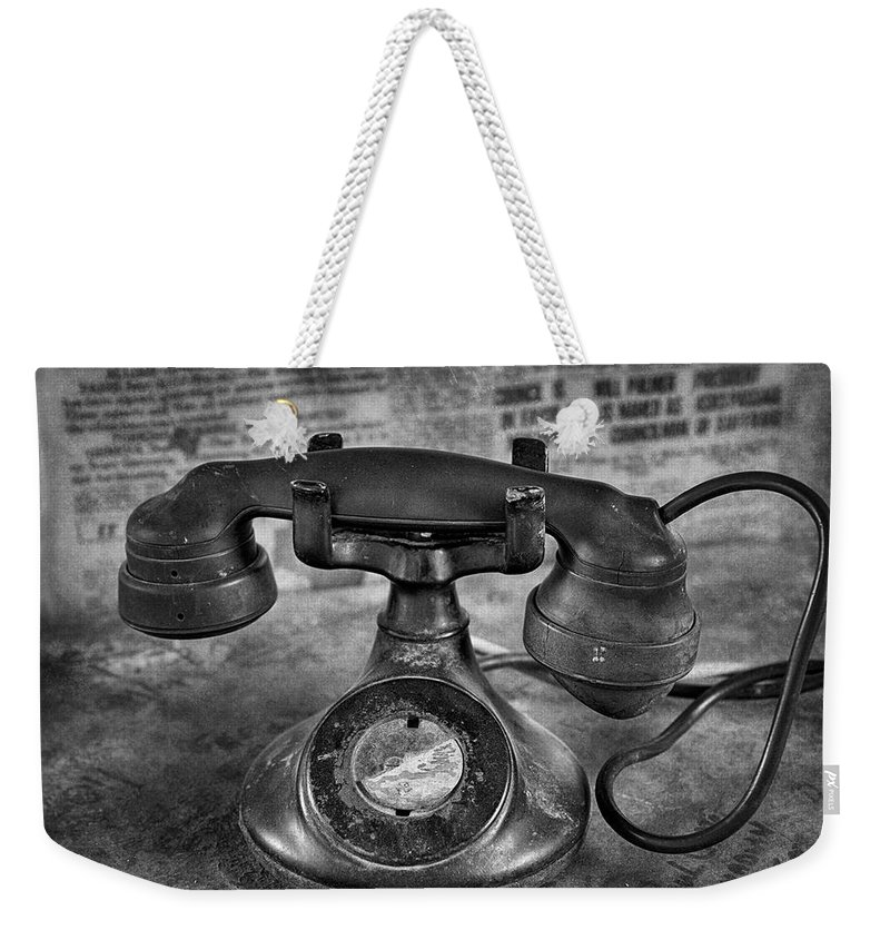 Vintage Weekender Tote Bag featuring the photograph Vintage Telephone In Black And White by Saija Lehtonen