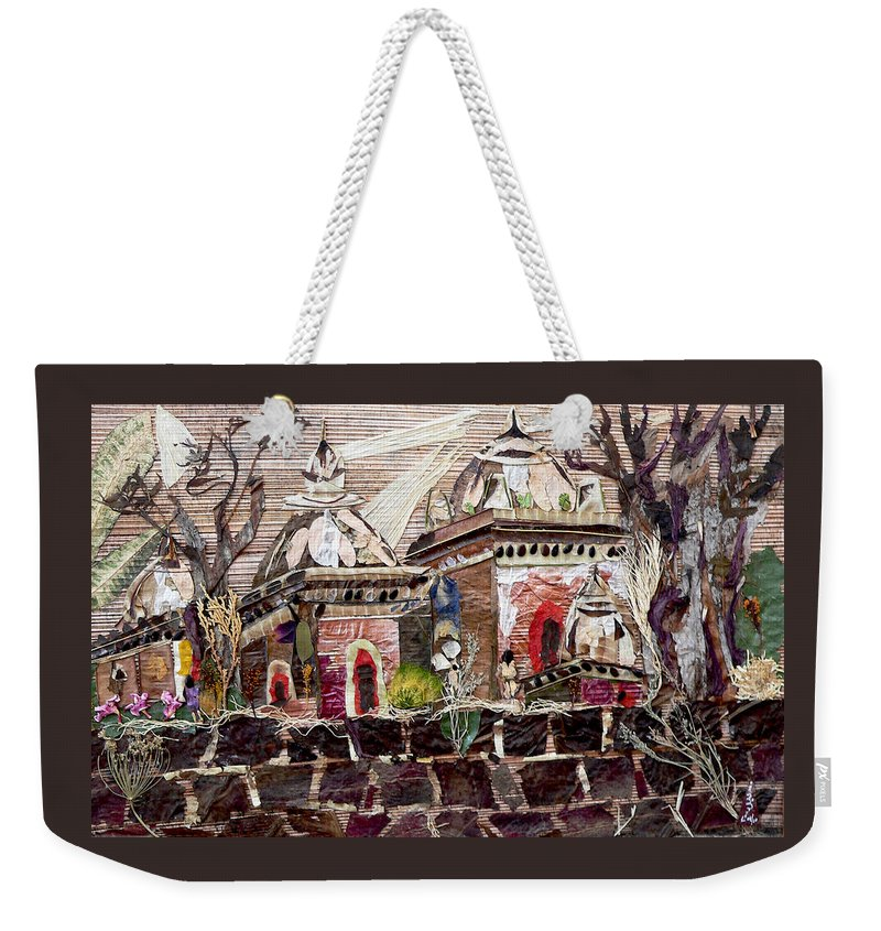 Vintage-temples Weekender Tote Bag featuring the mixed media Vintage -temples by Basant Soni