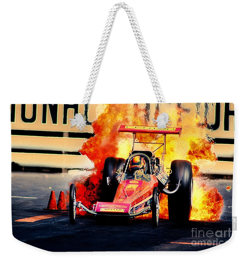 Fire Weekender Tote Bag featuring the photograph Vintage Top Fuel Dragster Fire Burnout-wild Bill Carter by Howard Koby