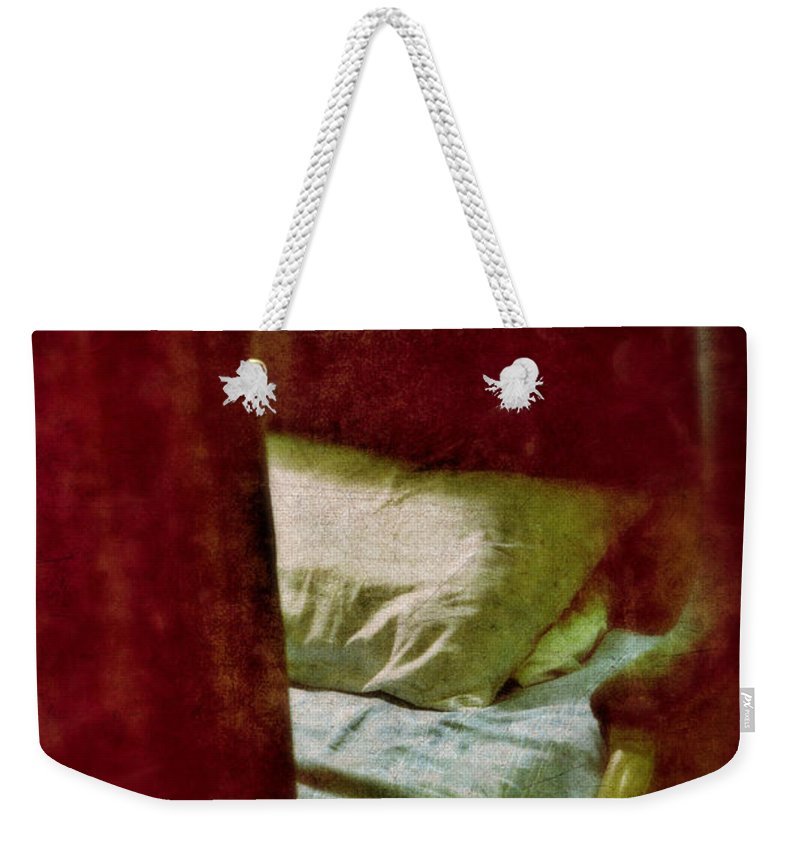 Train Weekender Tote Bag featuring the photograph Vintage Train Bed by Jill Battaglia