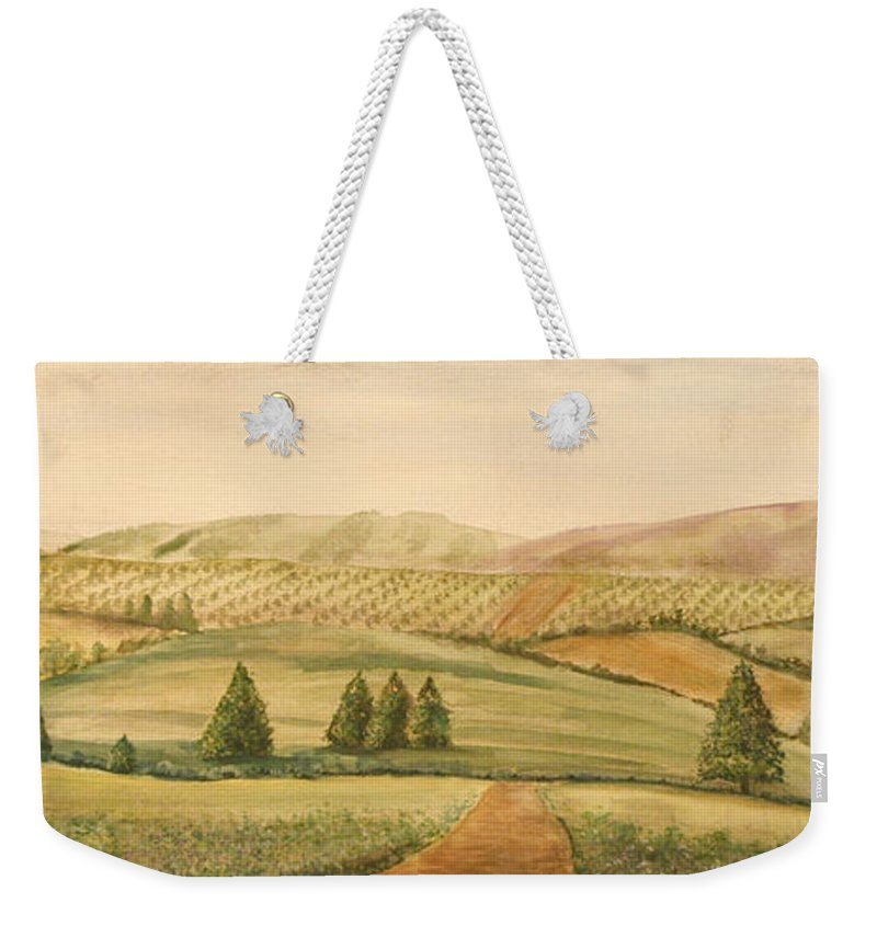 Painting Weekender Tote Bag featuring the painting Vintage Tuscan Landscape-2 by Jean Plout