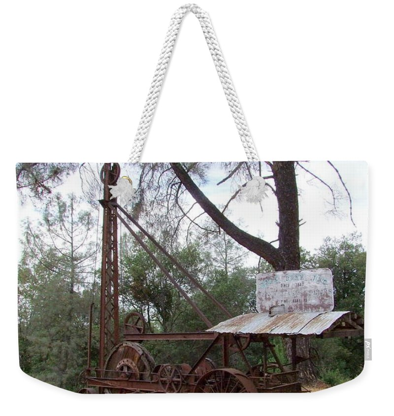 Well Driller Weekender Tote Bag featuring the photograph Vintage Well Driller 2 by Mary Deal