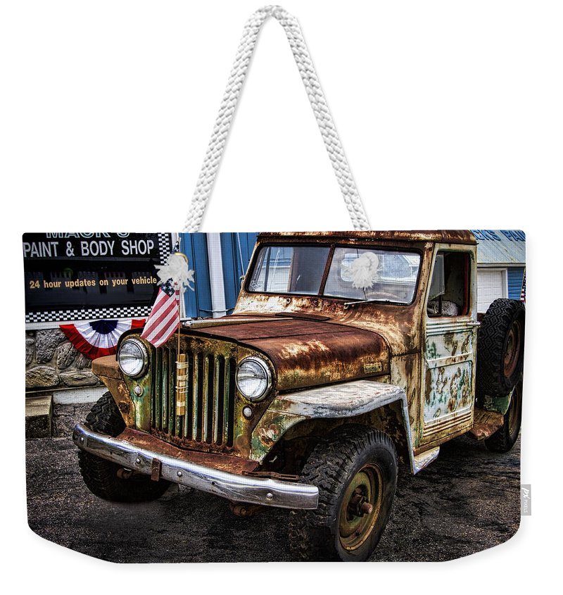 Willy's Weekender Tote Bag featuring the photograph Vintage Willy's Jeep Pickup Truck by Kathy Clark
