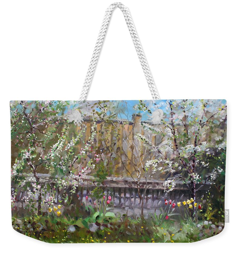 Trees Weekender Tote Bag featuring the painting Viola's Apple And Cherry Trees by Ylli Haruni