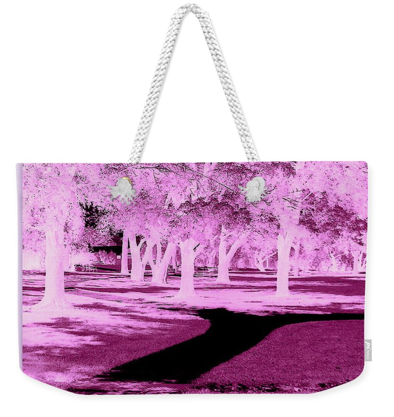 Illusion Weekender Tote Bag featuring the photograph Violet Illusion by Bobbee Rickard