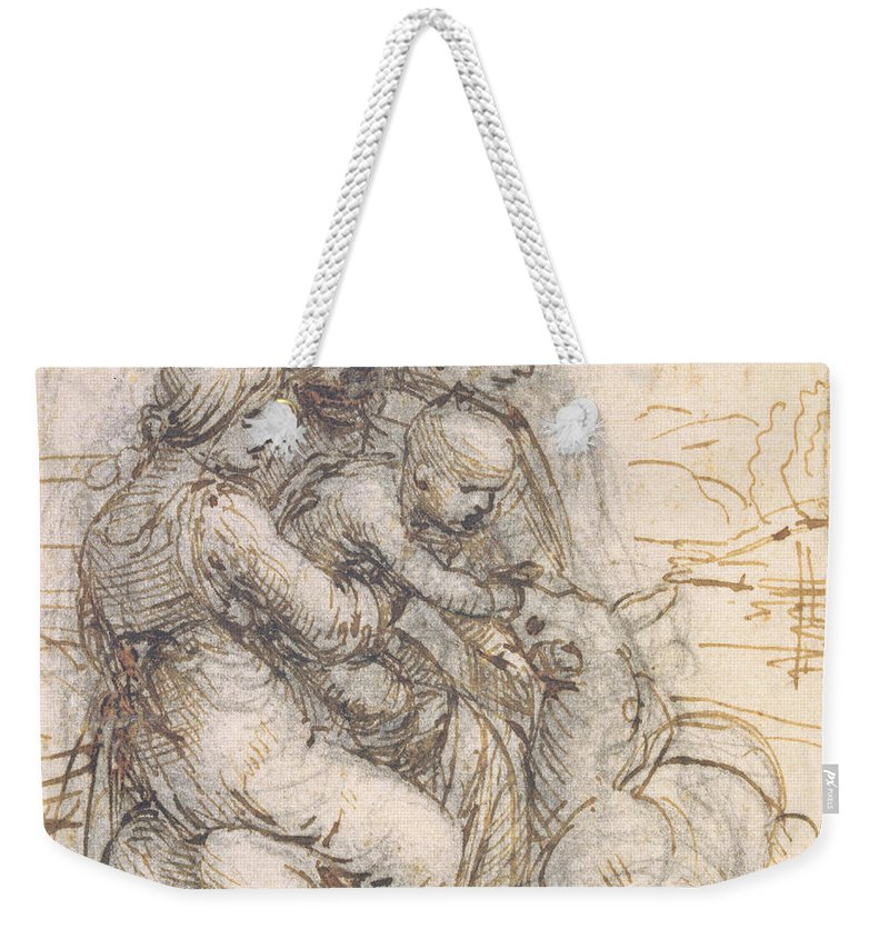 Madonna Weekender Tote Bag featuring the drawing Virgin And Child With St. Anne by Leonardo da Vinci