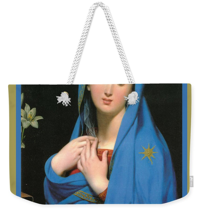 Virgin Of The Adoption Poster Weekender Tote Bag featuring the digital art Virgin Of The Adoption Poster by Jean Auguste Dominique Ingress