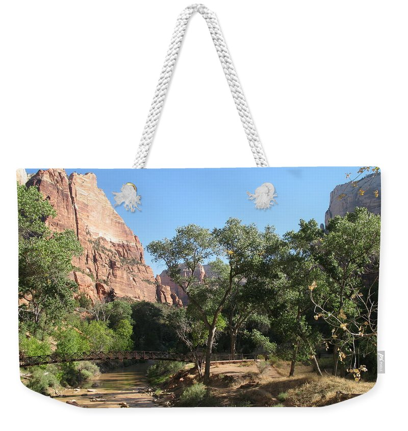 River Weekender Tote Bag featuring the photograph Virgin River Bridge by Christiane Schulze Art And Photography