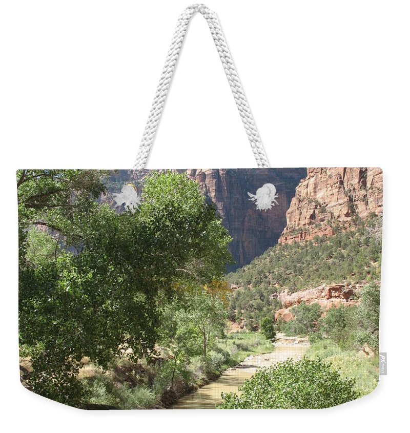 Mountians Weekender Tote Bag featuring the photograph Virgin River Zion Valley by Christiane Schulze Art And Photography