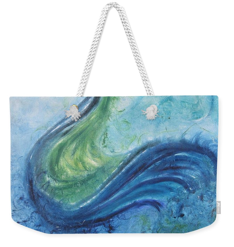 Peacock Weekender Tote Bag featuring the painting Peacock Vision In The Mist by Diane Pape