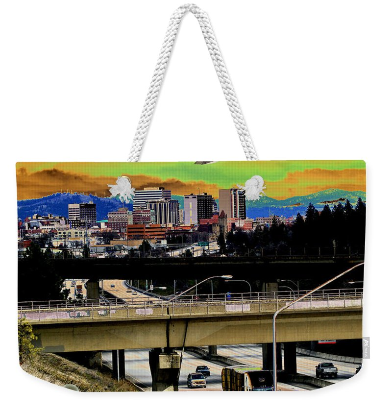 Aliens Weekender Tote Bag featuring the photograph Visiting Spokane by Ben Upham III