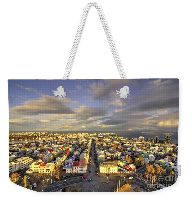 Reykjavik Weekender Tote Bag featuring the photograph Vista Of Reykjavik by Rob Hawkins
