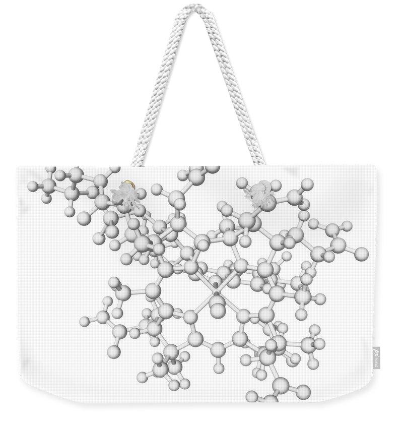 White Background Weekender Tote Bag featuring the digital art Vitamin B12 Molecule by Laguna Design