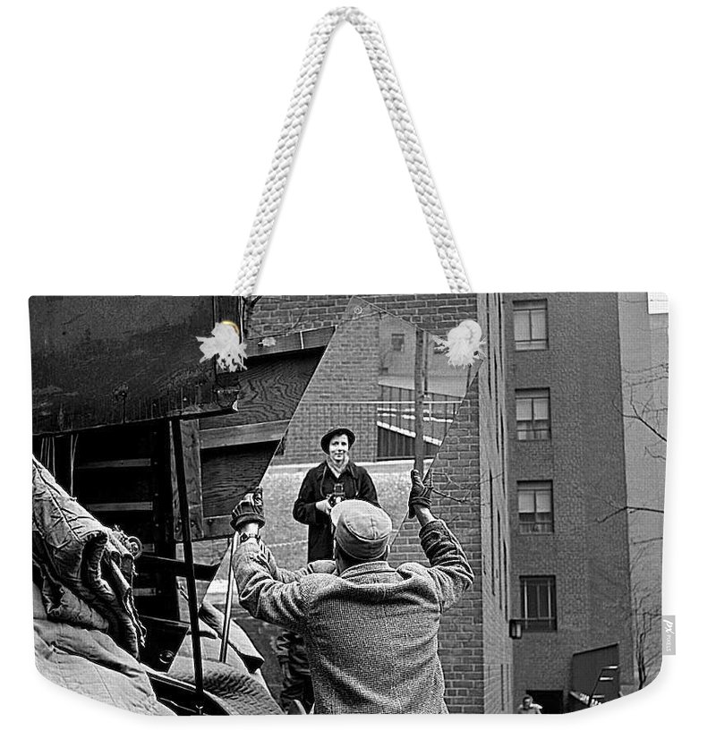 Vivian Maier Self Portrait Probably Taken In Chicago Illinois 1955 Weekender Tote Bag featuring the photograph Vivian Maier Self Portrait Probably Taken In Chicago Illinois 1955 by David Lee Guss