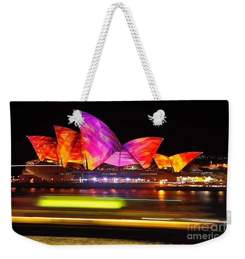 Photography Weekender Tote Bag featuring the photograph Vivid Sydney By Kaye Menner - Opera House ... Triangles by Kaye Menner