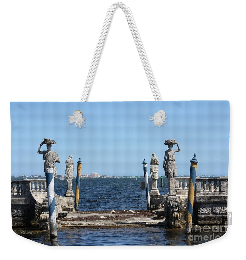 Florida Weekender Tote Bag featuring the photograph Vizcaya - The Pier by Dora Sofia Caputo Photographic Design and Fine Art