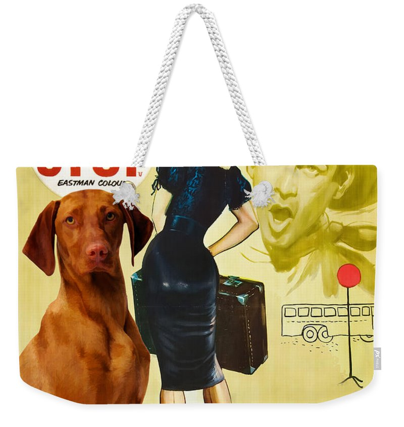 Vizsla Weekender Tote Bag featuring the painting Vizsla Art Canvas Print - Bus Stop Movie Poster by Sandra Sij