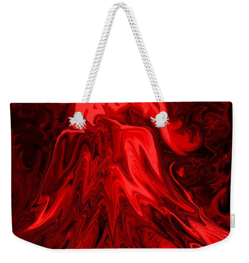 Volcano Weekender Tote Bag featuring the digital art Red Volcanic Dreams by Mechala Matthews