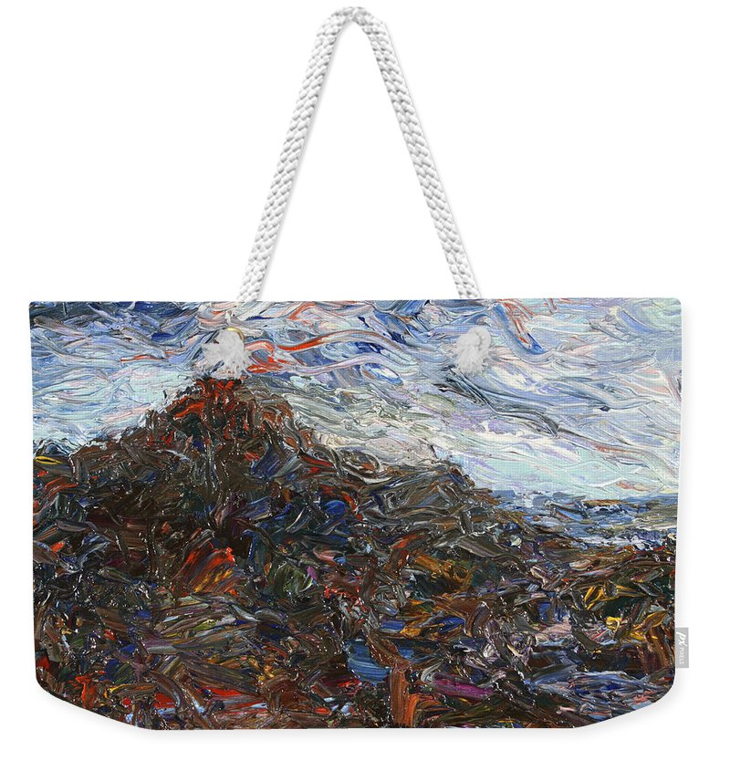Volcano Weekender Tote Bag featuring the painting Volcano by James W Johnson
