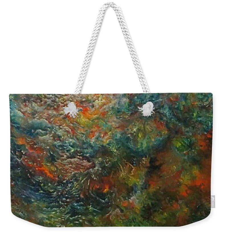 Sun Weekender Tote Bag featuring the painting Volcano Under Water by Karma Moffett
