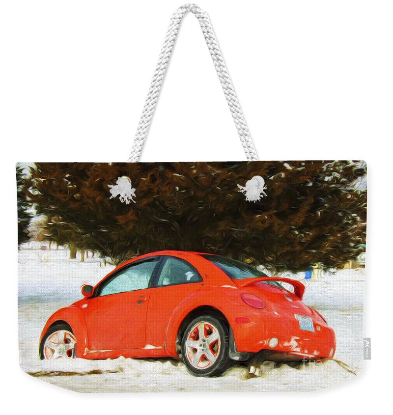 Andee Design Car Weekender Tote Bag featuring the photograph Volkswagen Snow Day by Andee Design