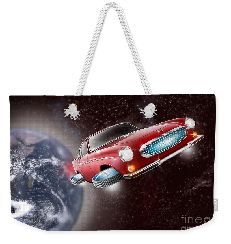 Volvo P1800 Weekender Tote Bag featuring the digital art Volvo P1800 Goes Back To The Future by Linton Hart