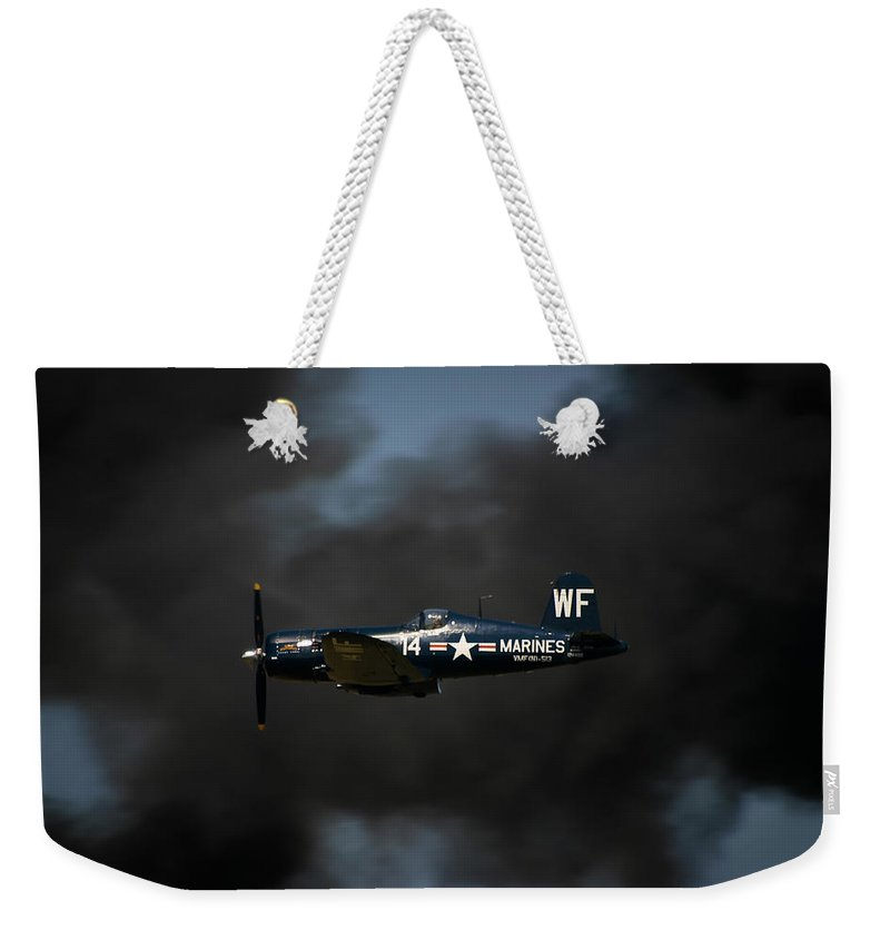 3scape Weekender Tote Bag featuring the photograph Vought F4u Corsair by Adam Romanowicz
