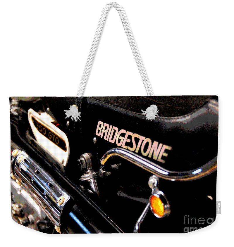 Bridgestone Weekender Tote Bag featuring the photograph Vroommmmmmmmm by Cindy Manero