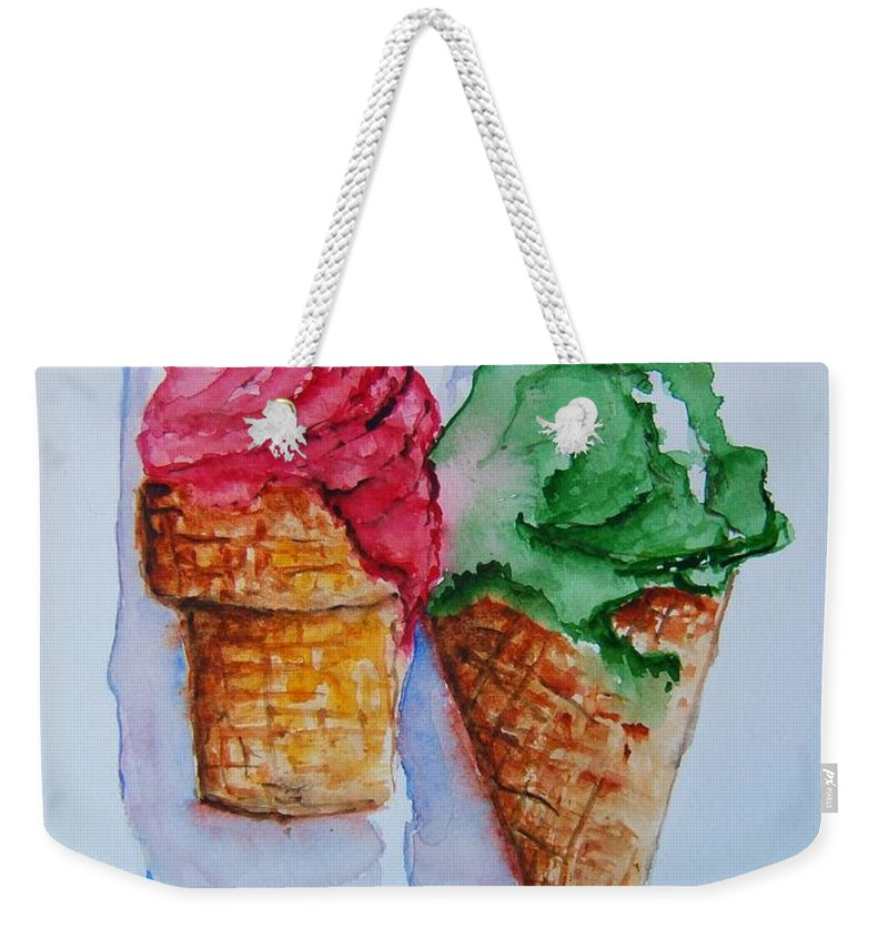 Ice Cream Weekender Tote Bag featuring the painting Wafer Or Waffle Cone by Elaine Duras