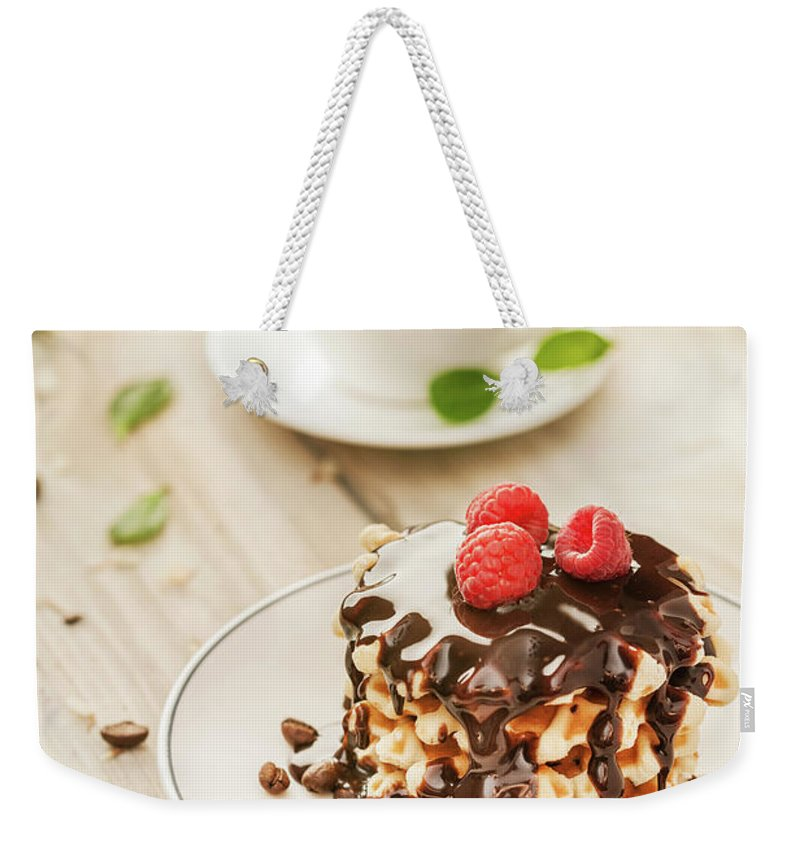 Breakfast Weekender Tote Bag featuring the photograph Waffles With Raspberry, Chocolate Sauce by Da-kuk