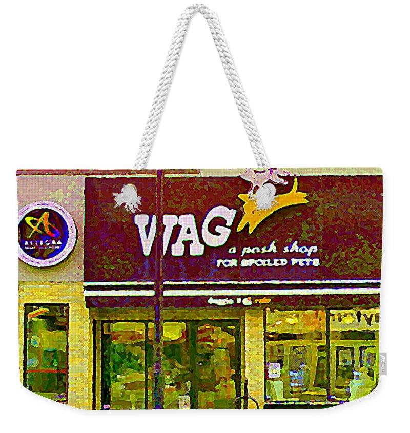 Ottawa Weekender Tote Bag featuring the painting Wag A Posh Pet Store Cafe For Spoiled Pets The Glebe Paintings Of Old Ottawa South Carole Spandau by Carole Spandau