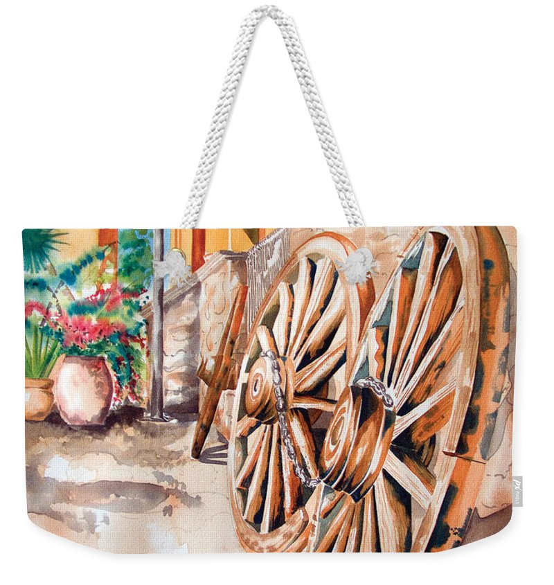 Landscape Paintings Weekender Tote Bag featuring the painting Wagon Wheels by Kandyce Waltensperger