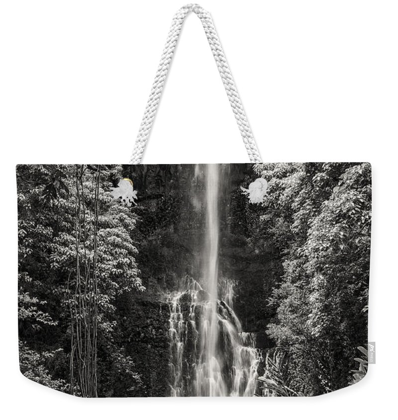Wailua Falls Road To Hana Maui Hawaii Waterfall Waterfalls Water Landscape Landscapes Tree Trees Vine Vines Fern Ferns Nature Waterscape Waterscapes Black And White Sepia Weekender Tote Bag featuring the photograph Wailua Falls 3 by Bob Phillips