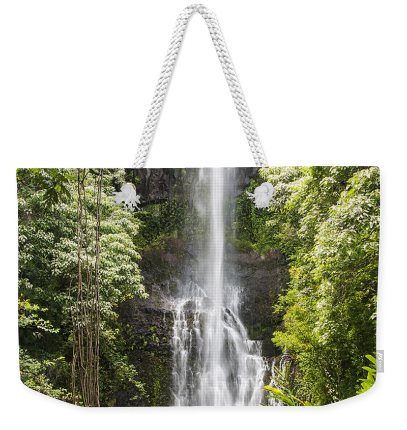 Wailua Falls Road To Hana Maui Hawaii Waterfall Waterfalls Water Landscape Landscapes Tree Trees Vine Vines Fern Ferns Nature Waterscape Waterscapes Weekender Tote Bag featuring the photograph Wailua Falls by Bob Phillips