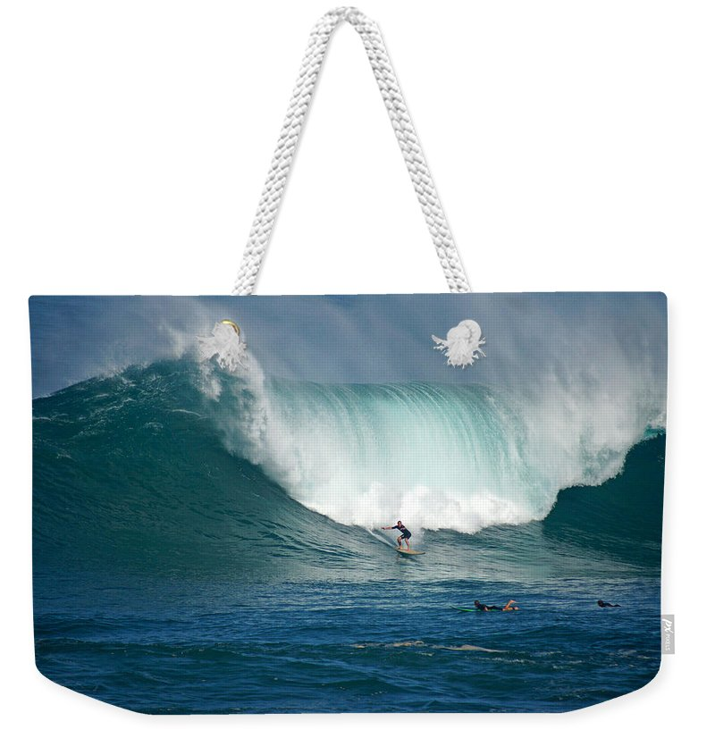 Waimea Bay Weekender Tote Bag featuring the photograph Waimea Bay Monster by Kevin Smith