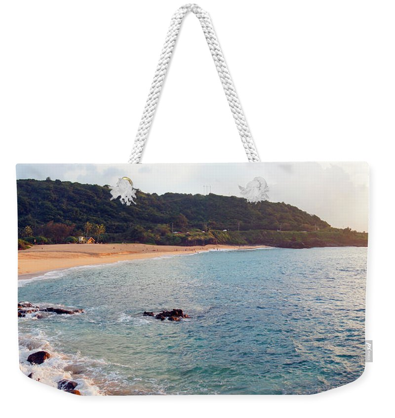 Waimea Bay Weekender Tote Bag featuring the photograph Waimea Bay Sunset by Kevin Smith