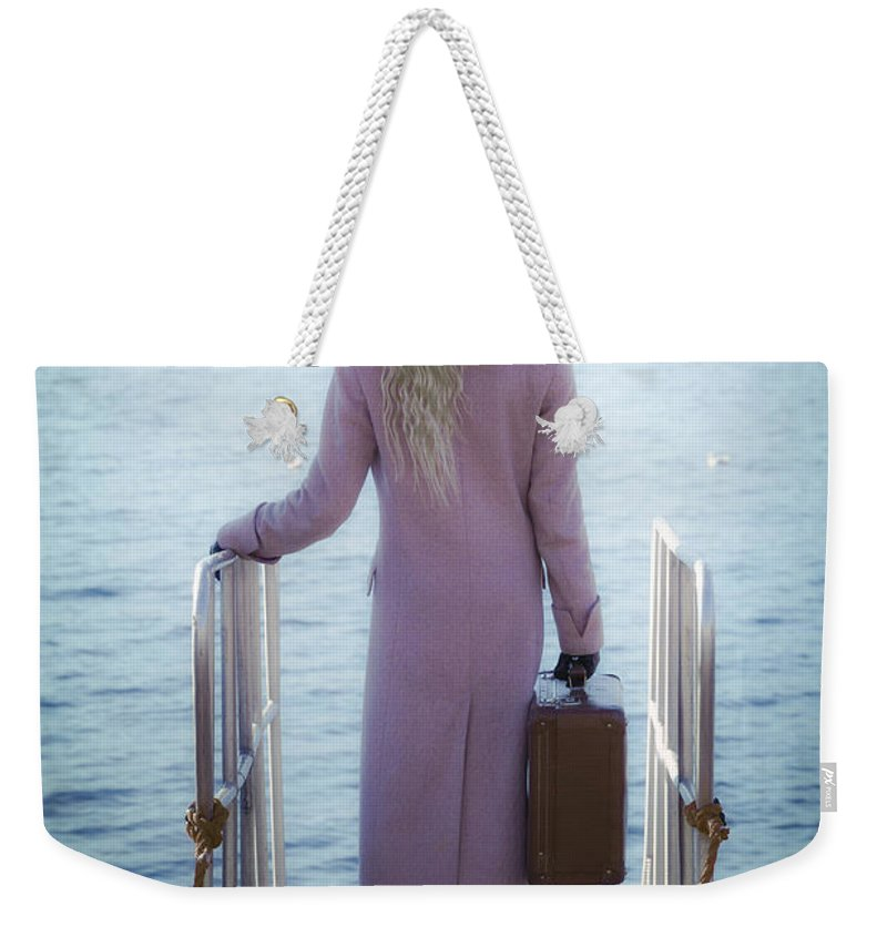Girl Weekender Tote Bag featuring the photograph Waiting For A Ship by Joana Kruse