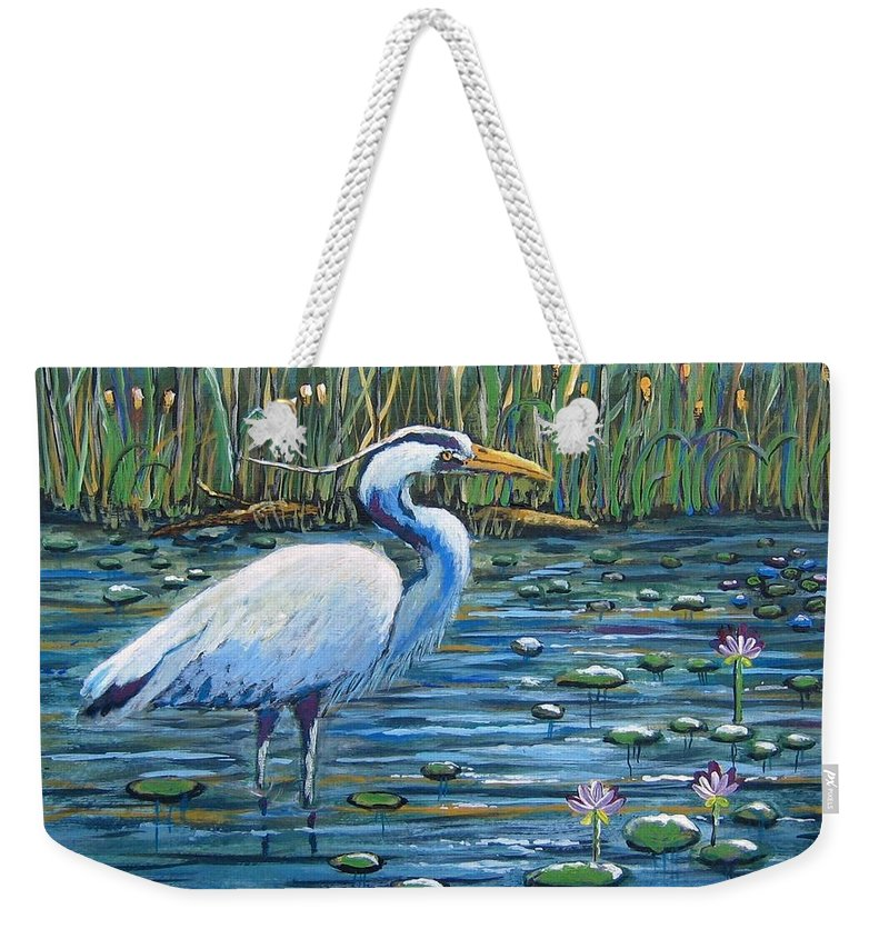 Great Blue Heron Weekender Tote Bag featuring the painting Waiting For Lunch by Suzanne Theis