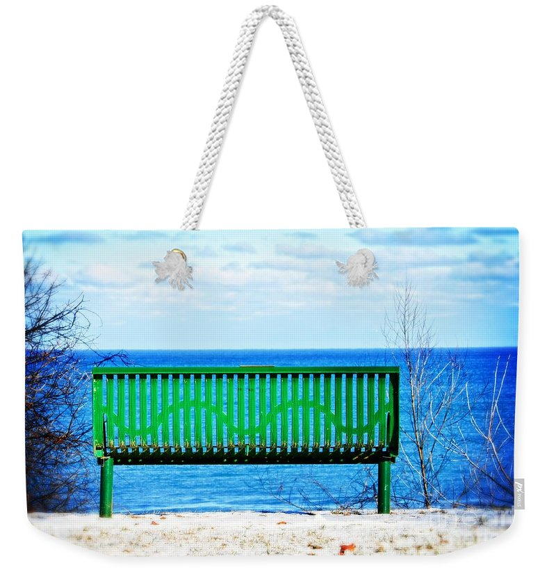 Waiting For Summer - The Green Bench Weekender Tote Bag featuring the photograph Waiting For Summer - The Green Bench by Mary Machare