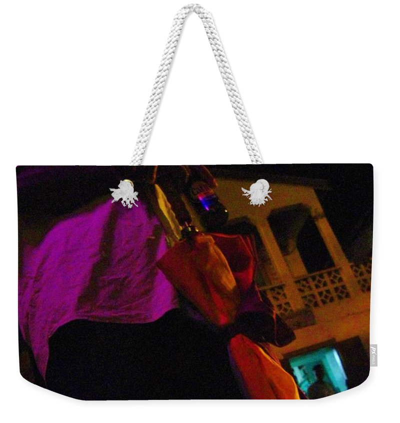 Man Weekender Tote Bag featuring the photograph Waiting For The Bus by Janell R Colburn