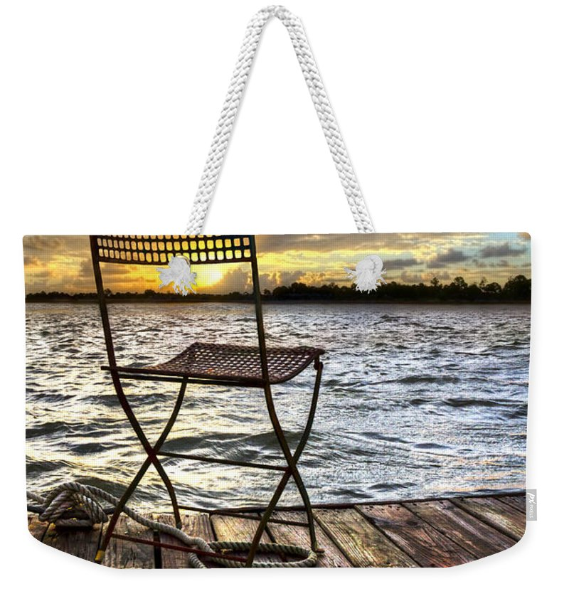 Boats Weekender Tote Bag featuring the photograph Waiting For The Captain by Debra and Dave Vanderlaan