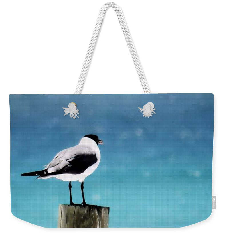 Seagull Weekender Tote Bag featuring the photograph Waiting For The Fishing Boats by Sharon Woerner